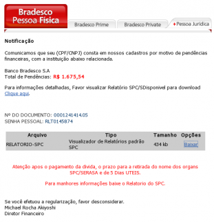 Exemplo de phishing no e-mail.
